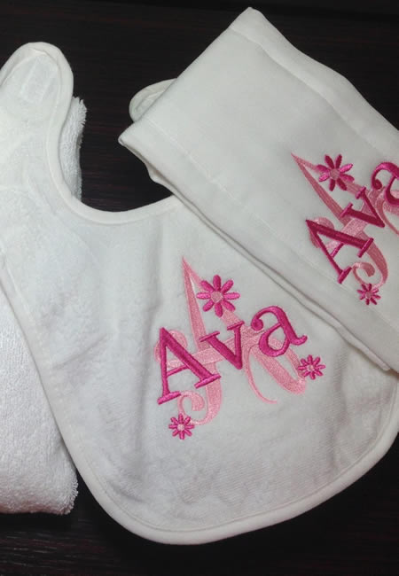 Personalized bibs and burp cloths