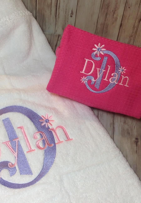 Personalized hooded towels and bags