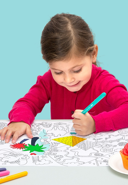 Omy coloring placemat for children at folia in south dartmouth ma