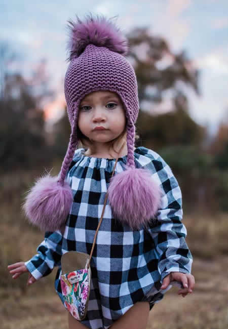 Pom Pom hats for babies and girls