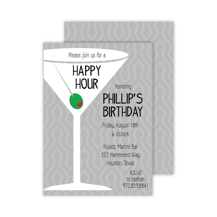 Adult happy hour birthday custom party invitations