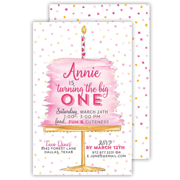 First birthday custom party invitations