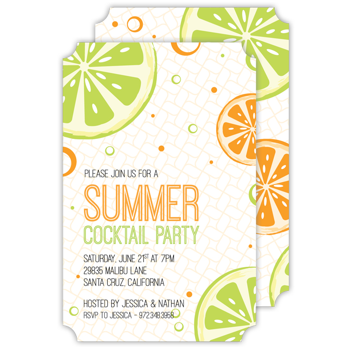 Cocktail party custom invitations